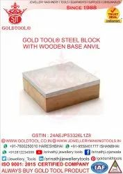 Gold Tool Steel Block Wooden Base