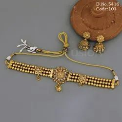 Traditional Chain Design Choker Necklace Set