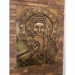 Wall Mounted Buddha Metal Stone Mural