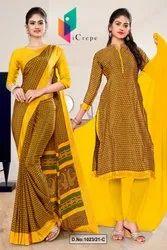 Gold Yellow Small Print Premium Italian Silk Crepe Saree For Institution Uniform Sarees