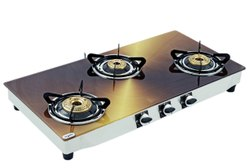 QUATTRO On Off Printed Glass Gas Chula Three Burner, For Kitchen, Size: 34 Inch