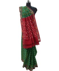 Festive Wear Printed Green And Red Pochampally Ikkat Handloom Pure Mercerized Cotton Saree, 5.5 m (separate blouse piece)