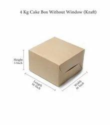 Kraft Paper Square 4 Kg Cake Box Without Window (Kraft)