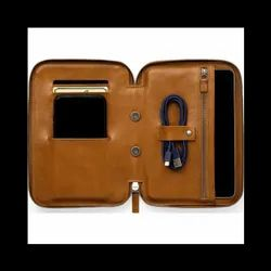 Brown Leather Zipper Tablet Case, Size: 7 X 9 Inch
