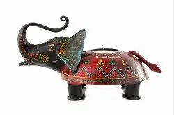 Nirmala Handicrafts Iron Elephant Cup Candle Holder Embossed Work Decorative