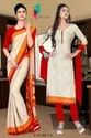 Grey And Red Saree Salwar Combo For Office Wear