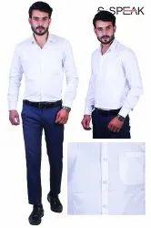 100% Premium Cotton Button Mens White Formal Wear Shirt, Machine wash, Size: 38 To 46