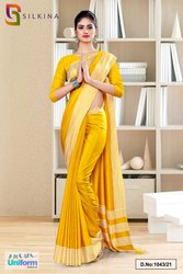 Yellow Gold Plain Border Premium Polycotton Raw Silk Saree For Staff Uniform Sarees