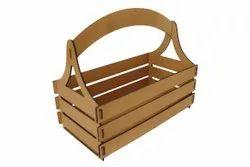 MDF Rectangular Brown Wooden Gift Basket, Size/Dimension: 9x5x3.4 Inches, Matt