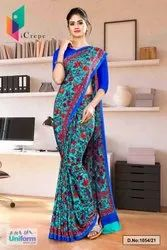 Sea Green Blue Flower Print Premium Italian Silk Crepe Uniform Sarees For Receptionist 1054