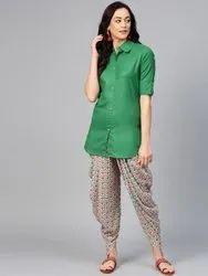 La Firangi Women Green & Orange Solid Kurti with Dhoti Pants