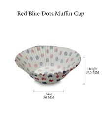 Red Blue Dots Muffin Cup