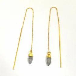 Black Rutile Spikes Ear Threaders, Gemstone Ear Thread Dangles