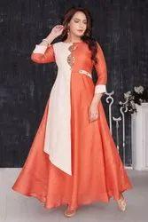 Silk 3/4th Sleeve Designer Partywear Anarkali Floor Length Kurti, Size: Medium, Wash Care: Machine wash