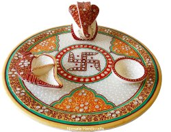 Nirmala Handicrafts Exporters Marble Ganesha Pooja Thali Set Home & Temple Decor Gift Pooja Thali