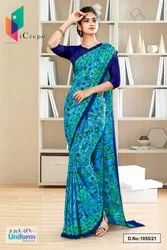 Sky Blue Navy Blue Flower Print Premium Italian Silk Crepe Uniform Sarees For Industrial