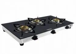 Black Stainless Steel Maharaj Whiteline 3Burner Gas Cooktop, Model Name/Number: Belenus 3b-cs