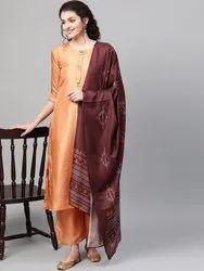La Firangi Women Peach- Coloured & Burgundy Solid Silk Kurta With Palazzos & Dupatta