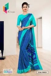 Blue Sea Green Premium Italian Silk Crepe Saree For Institution Uniform Sarees