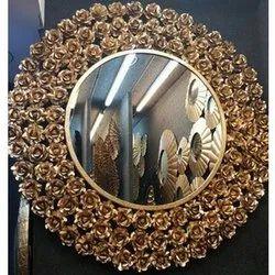 金属设计师金色圆挂镜,为家