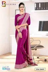 Wine Plain Border Premium Polycotton Raw Silk Saree For College Uniform Sarees