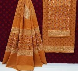 Natural Hand Block Printed Cotton Dress Material With Cotton Dupatta.
