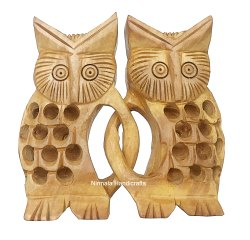 Wooden Friend Owl Set Artistic Gift And Table Decor Figurine
