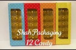Cardboard Rectangle Chocolate Boxes, For Food, Box Capacity: 12 pieces