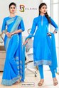 Sky Blue Plain Border Premium Polycotton Raw Silk Saree For Hotel Uniform Sarees
