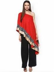 La Firangi Women Red Solid One-Shoulder Cape Top