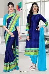 Blue And Green Saree Salwar Combo For School Teacher Uniform