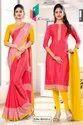 Pink Gold Premium Italian Silk Crepe Saree For Industrial Uniform Sarees