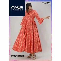 Anarkali Stitched MAXUS Ladies Party Wear Suit, Machine wash