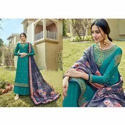 Jasper Angles Stitched Ladies Silk Palazzo Suit, Machine wash