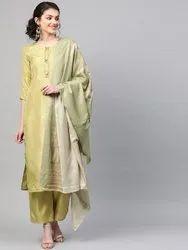 La Firangi Women Green Pure Silk Solid Kurta With Palazzos & Dupatta