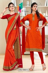 Orange Red Paisley Print Premium Italian Silk Crepe Uniform Sarees For Jewellery Showroom