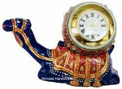 Metal Meenakari Sitting Camel With Ball Watch Statue