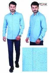Speak Collar Neck Men Sky Blue Star Printed Casual Wear Printed Shirts