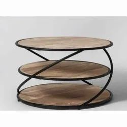 Craftico India Brown Wood And Iron Center Table, For Home