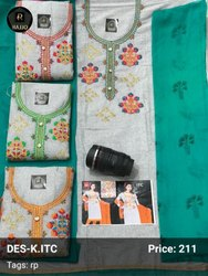 A-Line Unstitch Embroidery Work Khadi Suit, Machine wash
