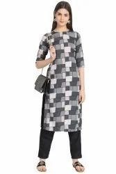 women printed crepe straight kurta(grey)