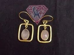 Pink Chalcedony Gemstone Oval Shape Earring with Gold Plated
