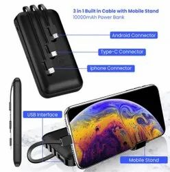 3 In 1 Built In Cable With Mobile Stand Power Bank 10000 Mah