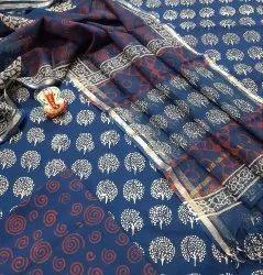 Exclusive Natural Bagru Hand Block Printed Cotton Dress Material With Kotta Doria Dupatta.