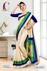 Beige Navy Blue Gala Border Premium Polycotton CotFeel Saree For Hotel Uniform Sarees