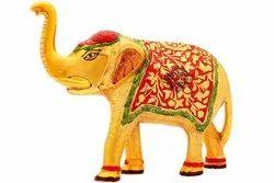 Indian Art Villa Aluminium Elephant Showpiece, For Decorative Purpose