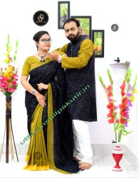 Plain Multicolor Saree And Kurta Couple Set, Dry clean, 6.3 with blouse piece