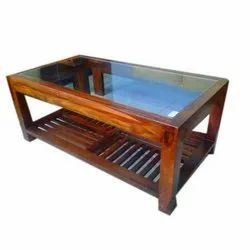 Brown Wooden Centre Glass Top Table