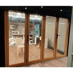 Hinged Brown(Frame) Aluminium Folding Door, 5 Mm, 2 Mm