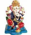 Metal Meenakari Choki Ganesha Statue Enamel Work Sculpture